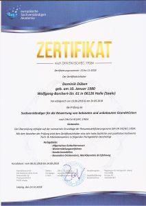 Zertifikat nach DIN EN ISO/IEC 17024